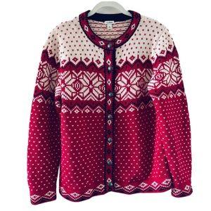 LL Bean Wool Fair Isle Snowflake Cardigan Sweater